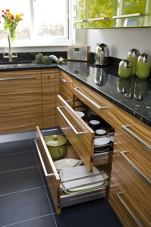 green / zebrano high gloss kitchen