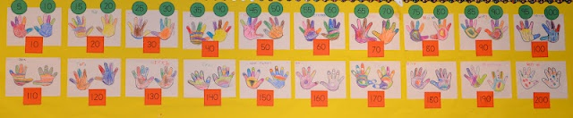 Students practice counting by 5's and 10's to 100