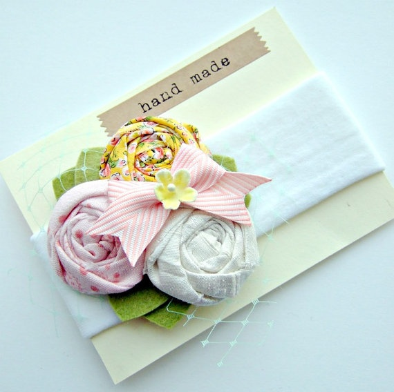 Flower Headband Rosette Headband with pink by giddyupandgrow, $20.00