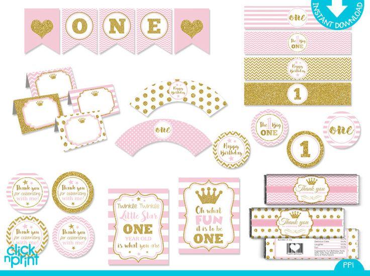 Rosa e oro Glitter stampa te principessa uno anno pacchetto Party, primo anno stampabile pacchetto Party, un anno compleanno decorazione di clicknprintdesigns su Etsy https://www.etsy.com/it/listing/462839919/rosa-e-oro-glitter-stampa-te-principessa