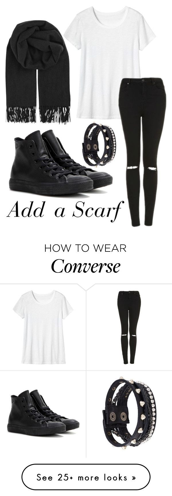"""""""Add a Scarf"""" by andreeaaaaaaa on Polyvore featuring Toast, Topshop, BeckSöndergaard, Converse and Diesel"""