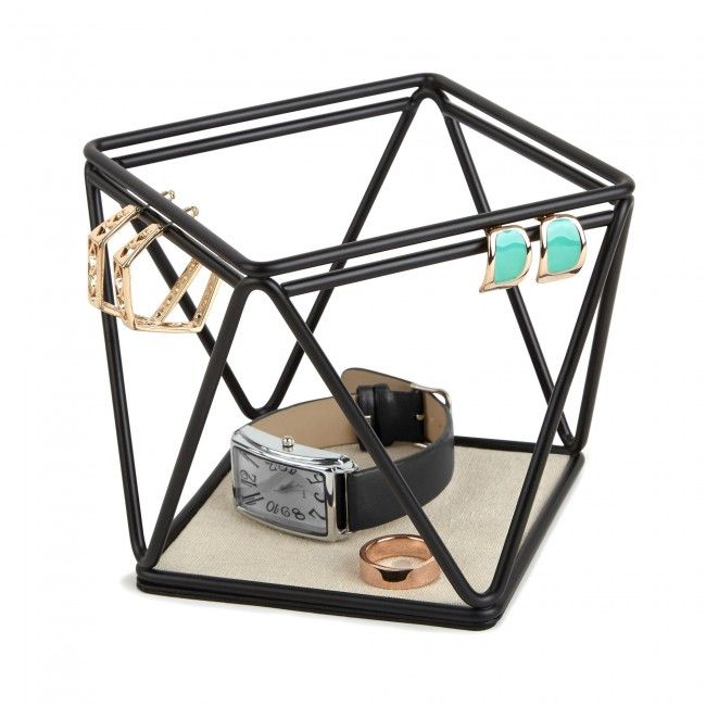 Black powder coated metal wire earring and jewelry organizer with linen lined tray. Coordinates with the PRISMA family.