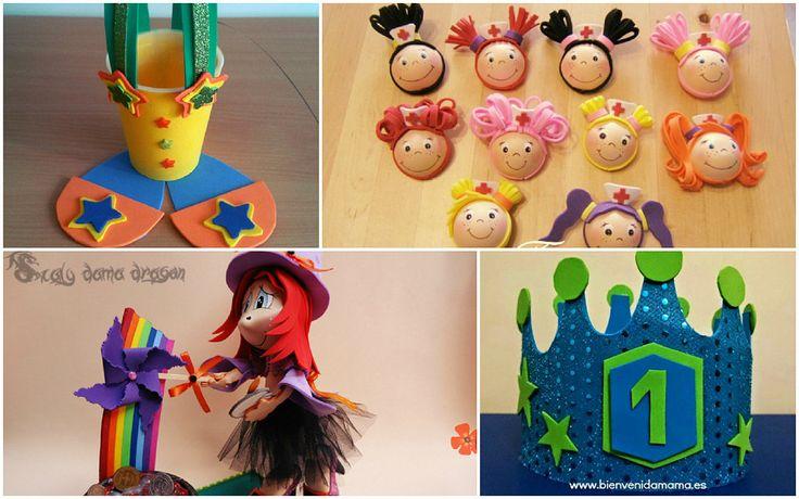 Compra diferentes planchas de goma eva y ponte a preparar estos detalles para su fiesta de cumpleaños.