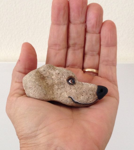 DOG Hand Painted River Rock Dog. by qvistdesign on Etsy