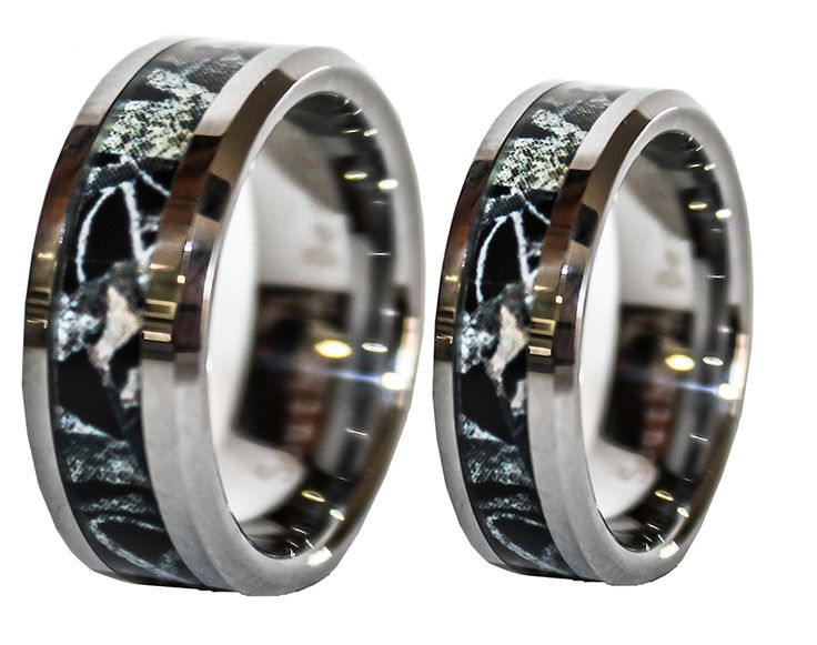 black camo on silver band couples ring set his and hers set - Camo Wedding Ring Set