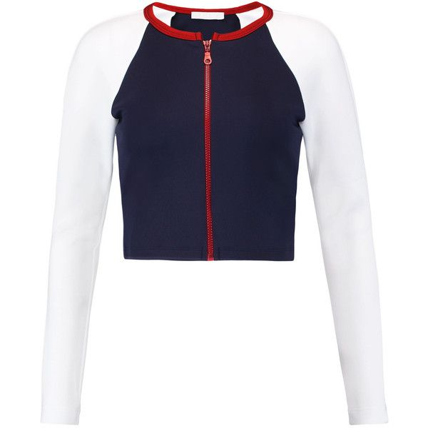 Kain - Nadia Cropped Neoprene Top (105 NZD) ❤ liked on Polyvore featuring tops, t-shirts, navy, blue jersey, jersey crop top, cropped tops, blue t shirt and navy blue tee
