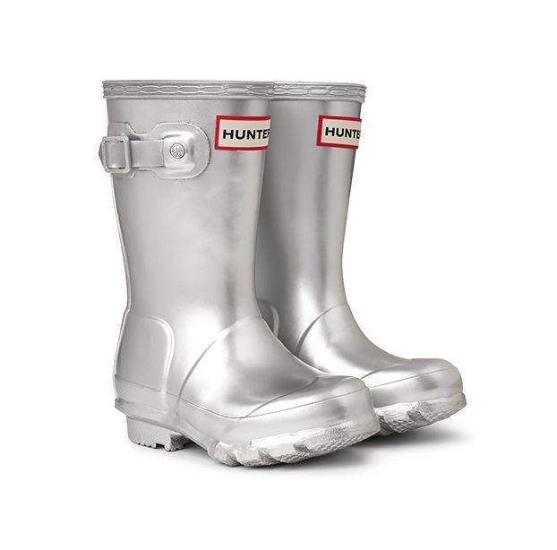 Silver Wellington boots for children, Hunter