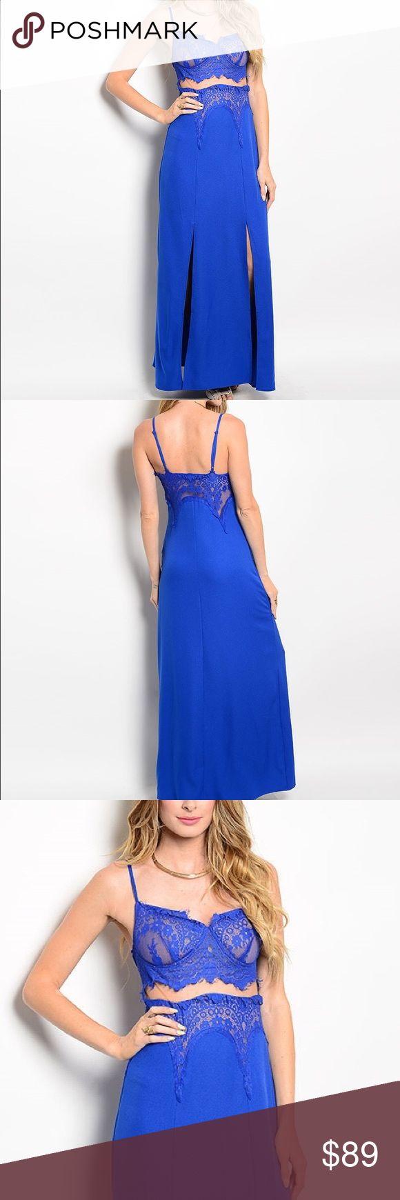 Blue Lace Bra Camisole Cutout Slit Maxi Dress Sexy, stunning dress features slit hem. Dresses Maxi