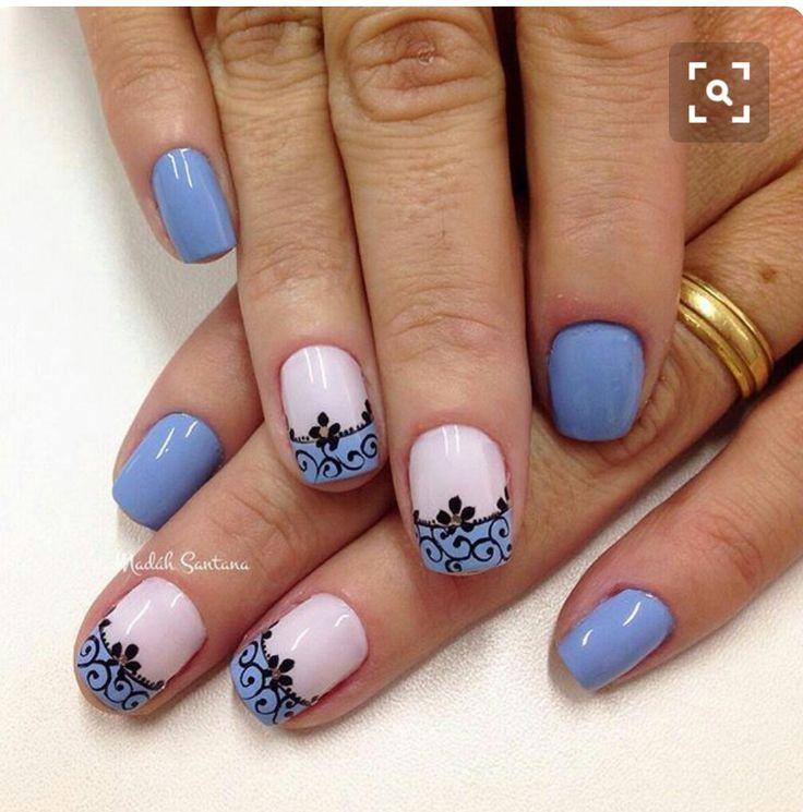 Blue lace nail art