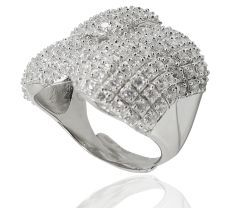 Inel argint 925-rodiat, design italian  inpodobit cu zirconia albe stalucitoare.