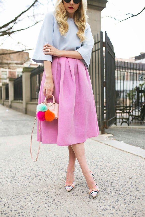 Prada micro bag with pom poms, Tibi skirt and Paul Andrew shoes.