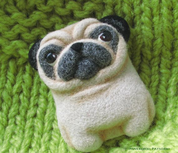Pug Handmade Felt Brooch Made to Order Pug Needle Felting Dog