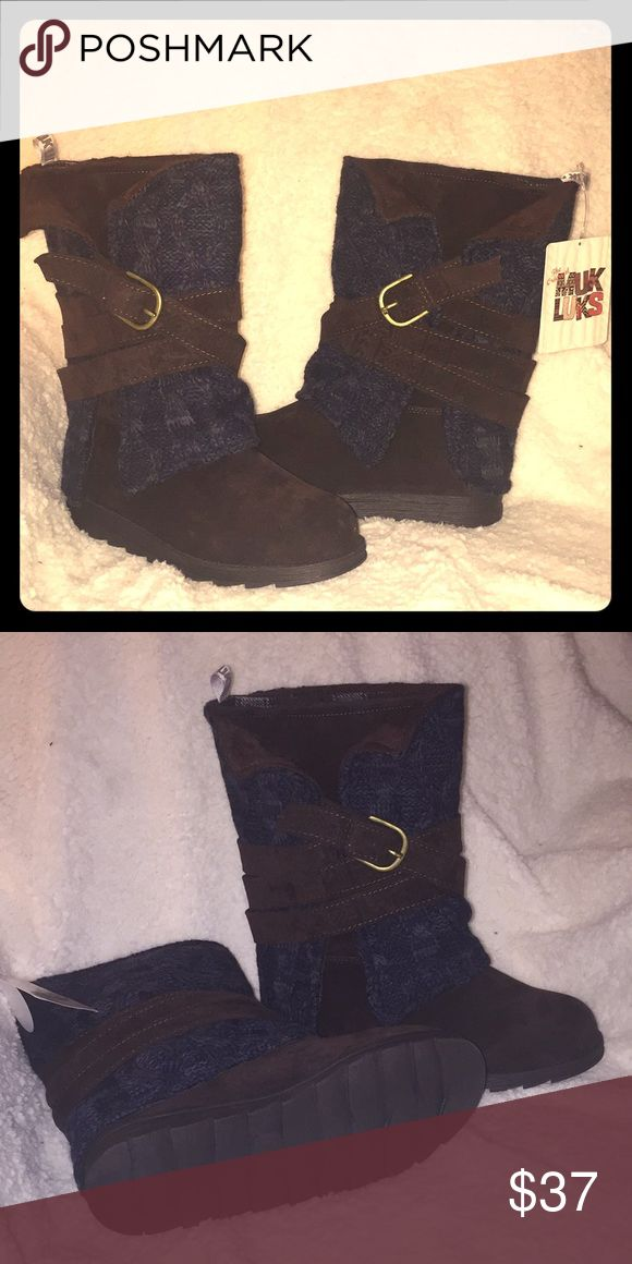 Muk Luks boots! Dark brown, navy blue with belt and buckle accent. New, never worn, water resistant and with tags! Muk Luks Shoes Winter & Rain Boots