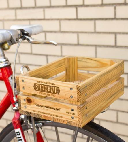 Wooden Bicycle Basket.