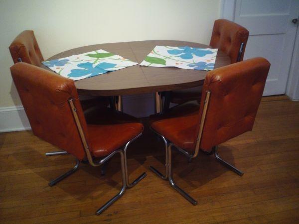 Vintage Midcentury Modern Chrome Orange Chairs - $150 (Atlanta Piedmont Park)