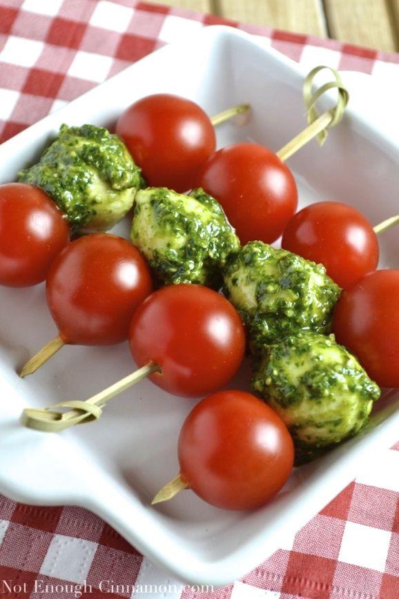 Tomato and Pesto Mozzarella Skewers