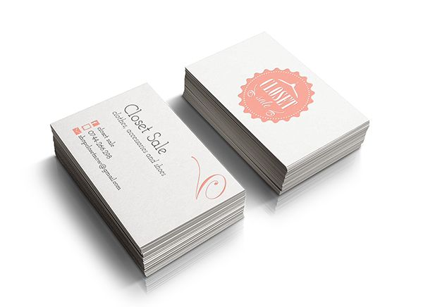 Closet Sale Business Card. Badge, shabby chic, clothes, small business, pink, woman, outlet, fashion