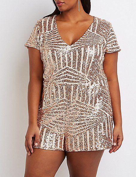 Plus Size Rose Gold Sequin V Neck Romper Plus Size