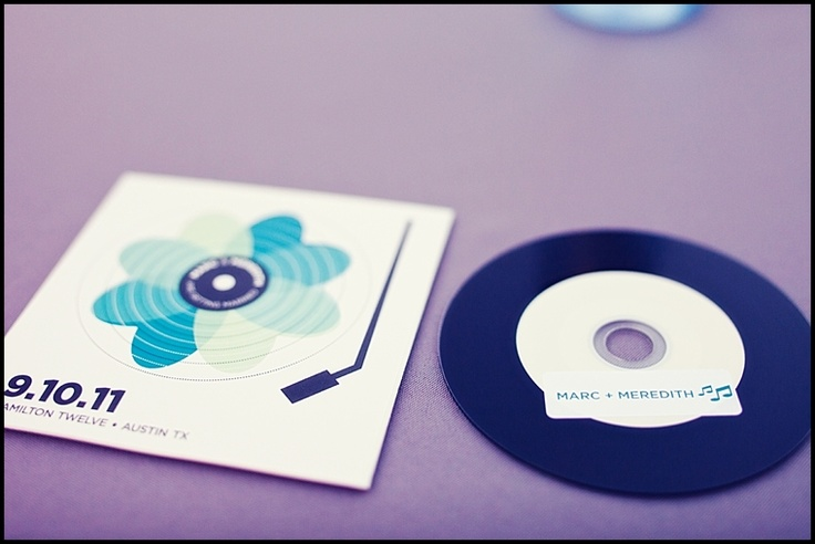 wedding gift for guests: cd (record style) with our wedding branding