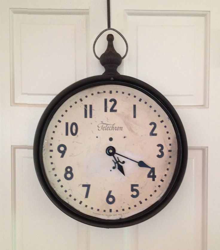 Reclaimed Vintage Telechron Clock Face Outfitted With Hand Welded Steel Frame And Old Farm Hardware By Designer Stephanie Reppas