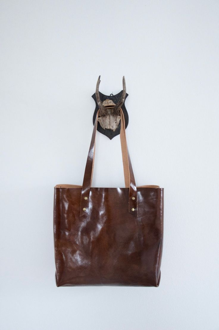 Brown leather shopper // Veg tanned glossy leather tote shopper