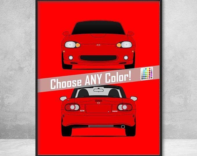 Mazda Miata Mx 5 Na Roadster Jdm Rear View Poster Print Wall Art Decor C1 Art Decor Jdm Mazda Miata Mx5 Poster Print Mazda Miata Miata Car Colors