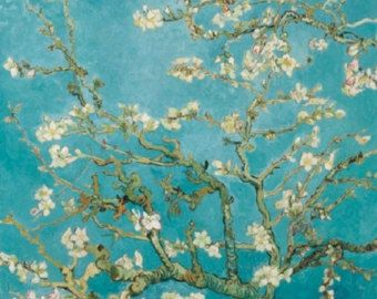 Almond Blossom Decoupage Paper Napkin, Turquoise, Teal, 3 Ply, 33cm. Perfect for many craft projects.