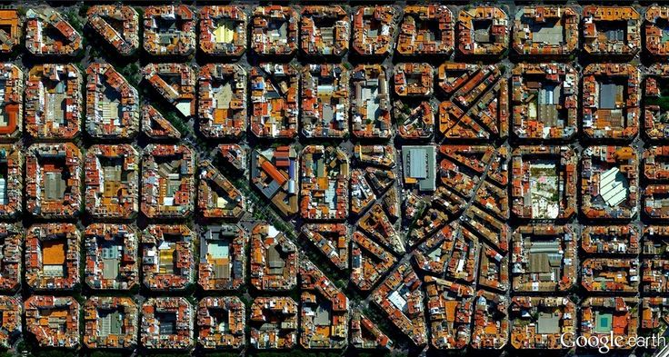 Contemplating Humanity's Effect On Planet Earth, From Above,L'Eixample district in Barcelona, Spain. Image Courtesy of DigitalGlobe