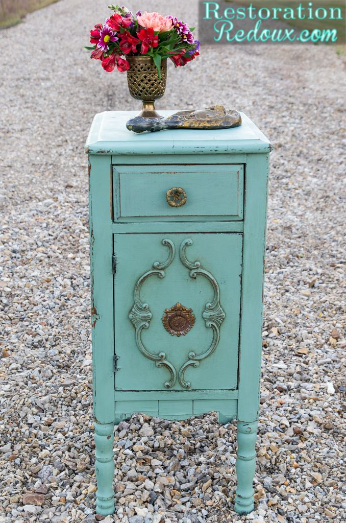 Milkpainted Aqua Antique Side Table