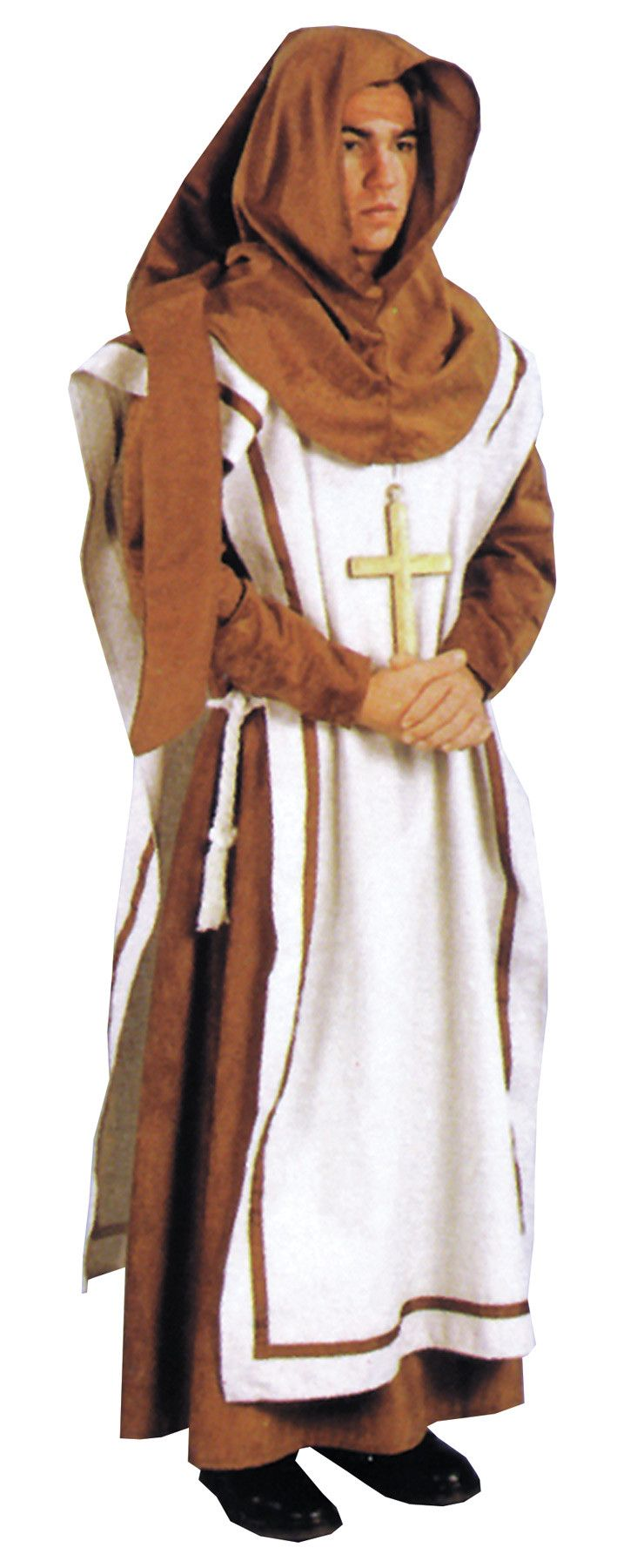 Renaissance monk is just your style! This costume features a brown robe and hood with an off-white colored tunic. The tunic is trimmed with brown ribbon; and, a rope belt is included. The costume fits