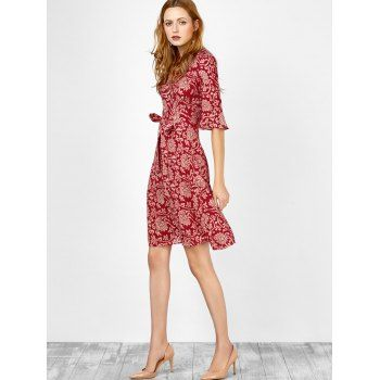 Floral Print Bell Sleeve Self Tie Surplice Dress - L L