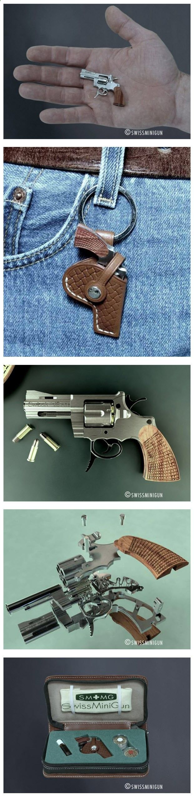 Measuring in at 5.5 cm long, SwissMiniGun produces the smallest functioning revolver in the world. The miniature gun, which comes complete with a miniature holster, has all the same features found on a regular size gun. The manufacturing of this tiny revolver was made possible by exploiting the latest technologies and expertise of the Swiss watch and jewellery Industry
