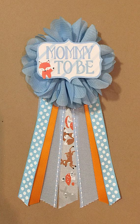 Fox Baby Boy Shower Mommy-to-be Flower Ribbon Pin by afalasca