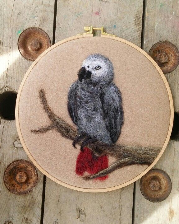 Needlefelted , grayparrot ,  feltingneedle ,animal , felt , needlefelting Instagram : handesanat