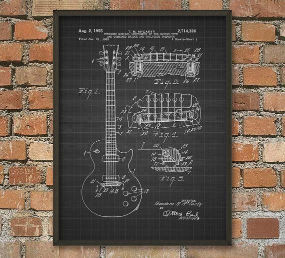Guitar Patent Print - Electric Guitar Patent Wall Art Poster - Music Room Patent Prints Home Decor - Musician Gift Idea #patentartdecor