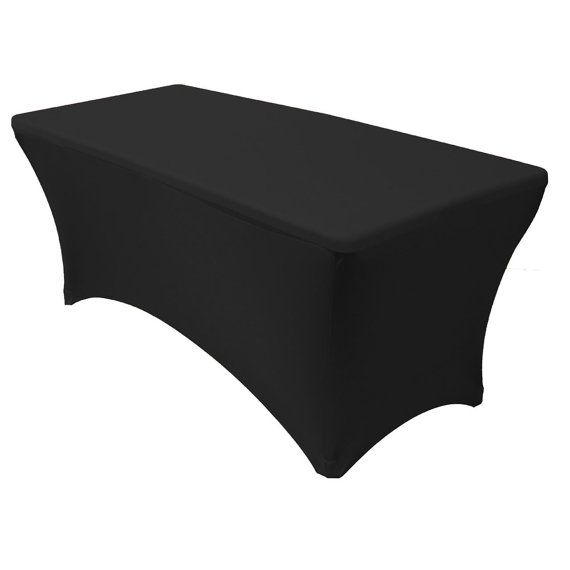 8 FT Rectangular Spandex Table Covers Black | Wholesale Tablecloths