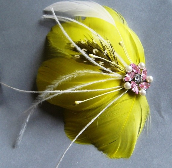 I love the yellow feathers in this clip paired with a few wispy, white feathers.