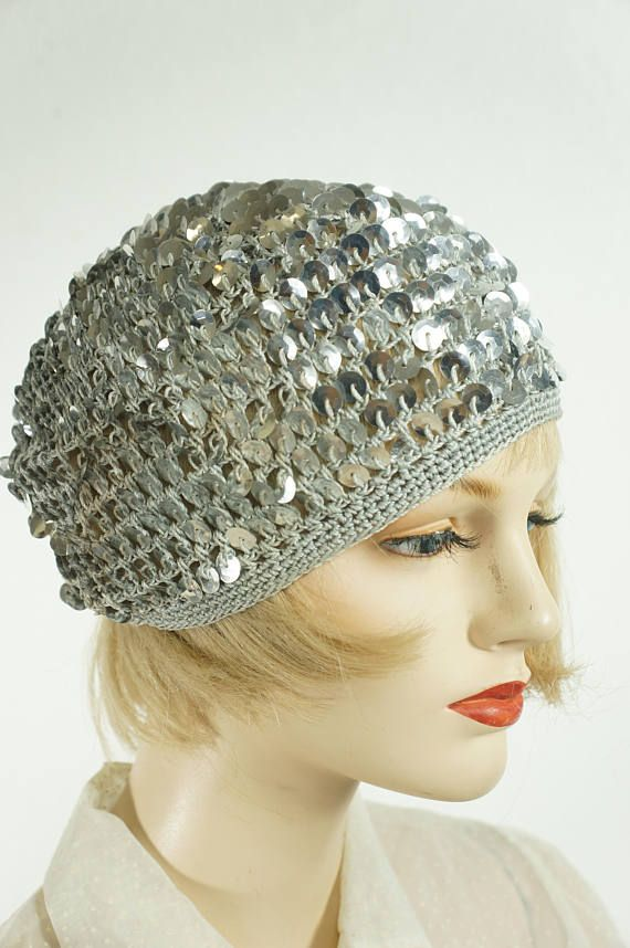 08f367fa5fa RARE Vng Sequin 1920s Juliette Flapper Hat   20 s Flappers Knit Sequin Cap  Hat   Silver Sequin Hat   Antique Knit Flapper Hat