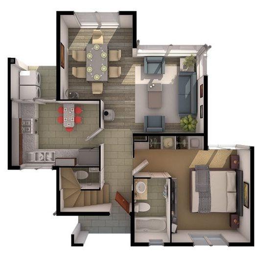 CASA# 12 Veamos el plano del primer piso, podemos apreciar el dormitorio matrimonial con un hermoso baño exclusivo, cocina, baño para visita, living,...