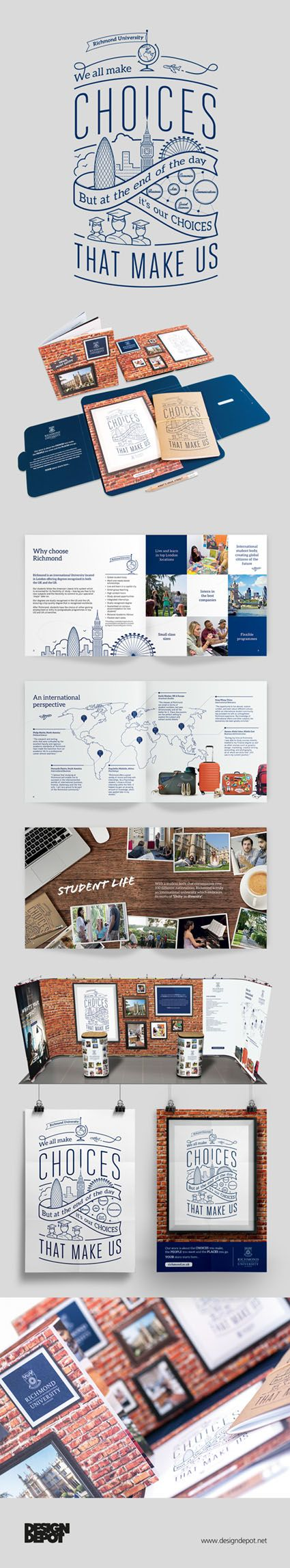 Richmond artwork, London, university, identity, welcome pack, branding, design depot, prospectus, education, #DesignDepot                                                                                                                                                                                 Más