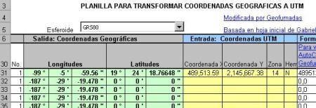 Conversiones coordenadas utm - geodésicas