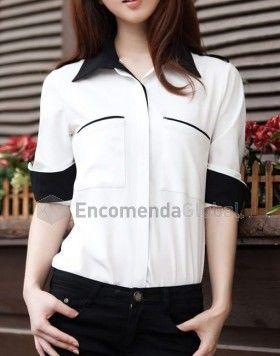 Camisa feminina bicolor