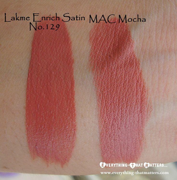 MAC Mocha Lipstick Dupe Lakme Enrich Satin Lipstick No.129 : Swatch & Review