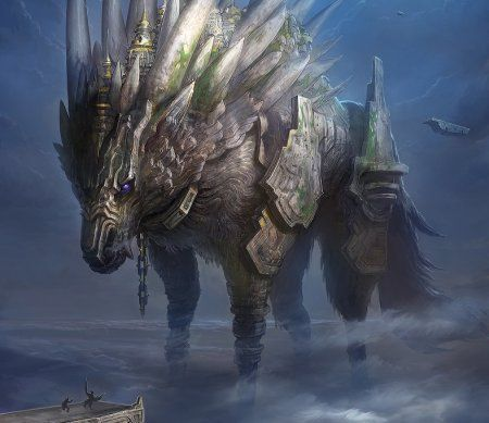 Fenrir: A fonte mais importante de informação sobre Fenrir aparece na seção de Gylfaginning no édico de Snorri Sturluson, embora haja outros, freqüentemente contraditórios. Por exemplo, em Lokasenna, Loki ameaça Thor com a destruição por Fenrir durante o Ragnarök, uma vez que Fenrir pode destruir Odin.