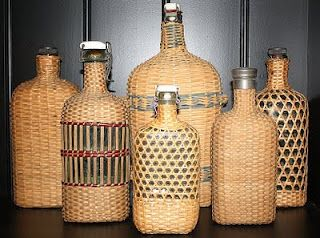 wicker bottles
