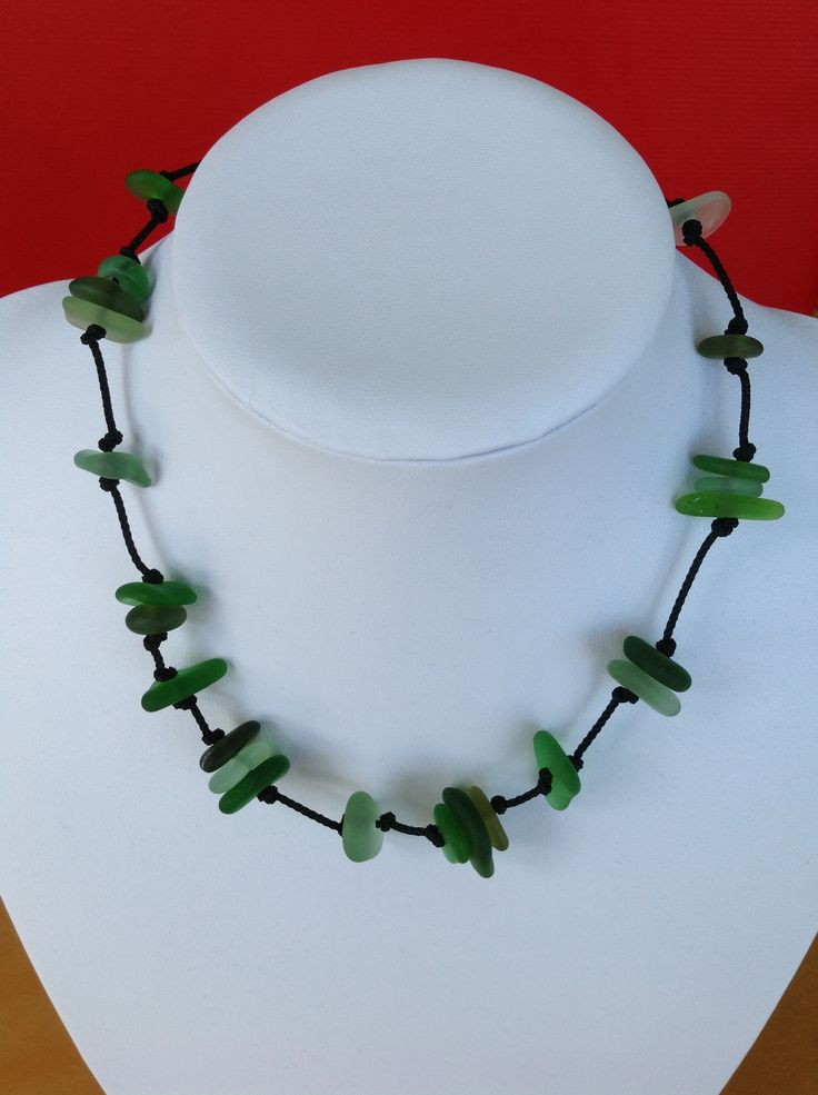 Green sea glass necklace from Fossik Jewellery.