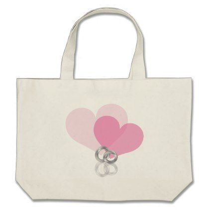 Wedding Rings Platinum Band with Hearts pink Large Tote Bag - wedding bag marriage design idea custom unique