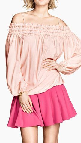 Pink Tiered Ruffle Off-Shoulder Spaghetti Strap Long Sleeve T-shirt