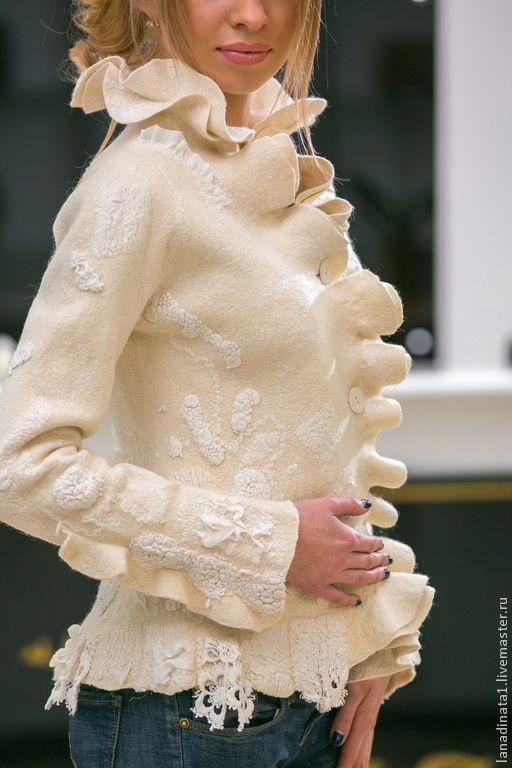 """Купить Жакет """"Elegante bianco"""" - белый, жакет из войлока, элегантный жакет, дизайнерская одежда"""
