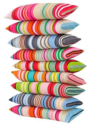 Colorful!Pillows Cases, Colours Life, Colours Cushions, Colors Stripes, Summer Stripes, Colours Inspi, Pillows Colours, Colors Pillows, Bright Colours